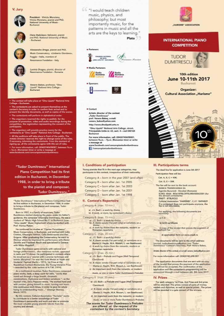 Flyer - Concursul Internațional de Pian Tudor Dumitrescu