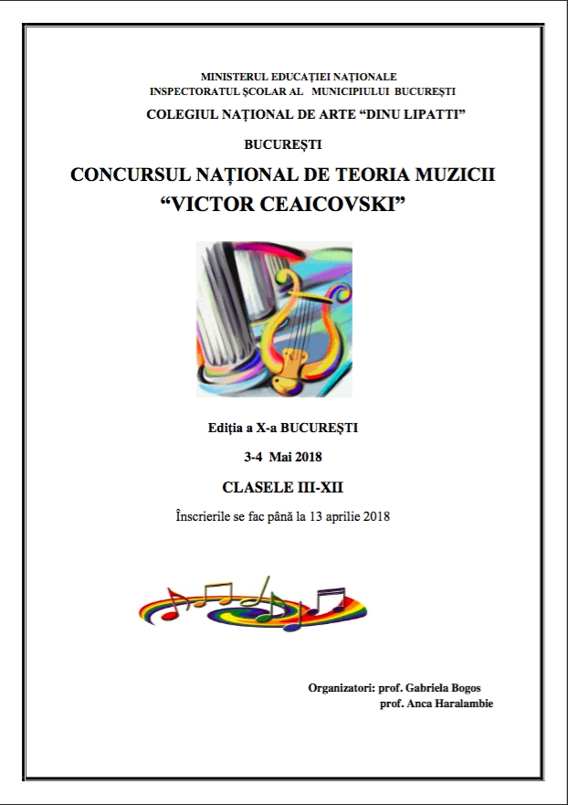 Afiș Concursul Național de Teoria Muzicii Victor Ceaicovski