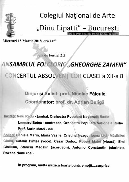 "Ansamblul Folcloric ,,Gheorghe Zamfir"" Concertul Absolvenților Clasei a XII-a B"